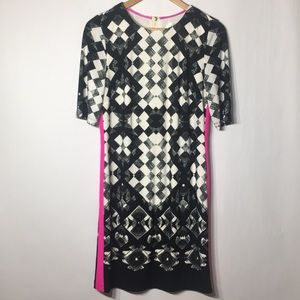 Eliza J dress abstract hot pink size 10 lined EUC